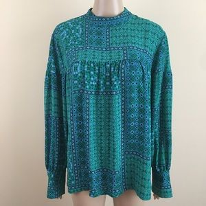 Ann Taylor LOFT Large Blue Green long sleeve blous